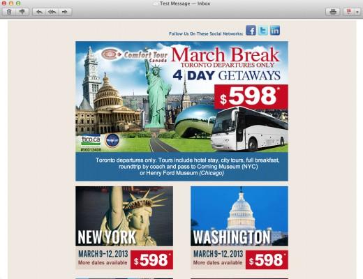 E-newsletter Design for Travel Company
