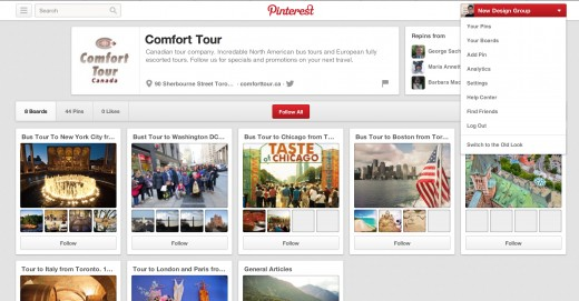 Comfort Tour's Pinterest page set-up by New Design Group Inc.