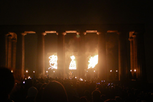 2012 Beltane Fire Festival in front of the National Monument of Scotland on Calton Hill, Edinburgh, Scotland