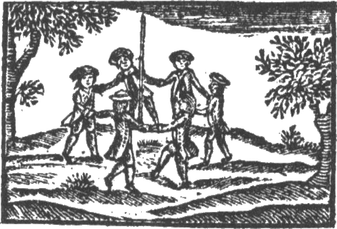 Children dancing around a May pole.