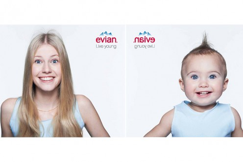 Evian bottled water claims to revive the baby in you