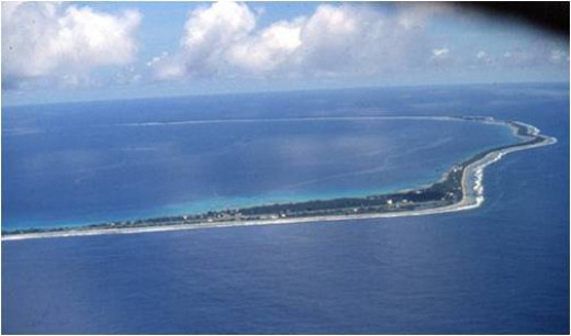 Endangered atolls in the South Pacific.