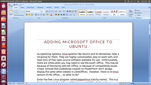 Screenshot of MS Word running on Ubuntu