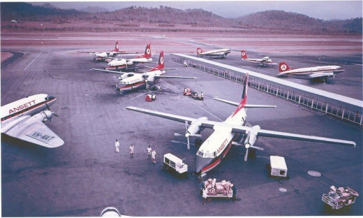 This is Moresby Airport a decade after I'd left 'The Territory,' as it was called.   The age of the jet had not yet reached P/NG in my days there.  It was DC3s, and B170 Bristol Freighters, with DC6Bs coming in from Australia.