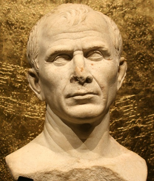A bust of the Roman Emperor Julius Augustus Caesar.
