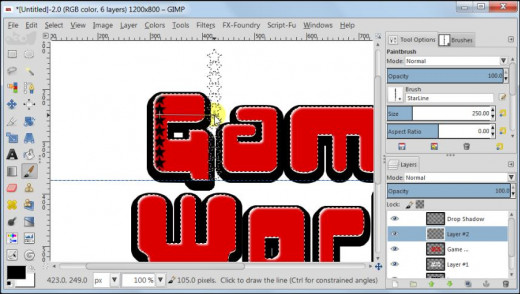 Fig. 9  Making a glossy text with star pattern inside in GIMP 2.8