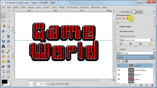 Fig. 11  Making a glossy text with star pattern inside in GIMP 2.8