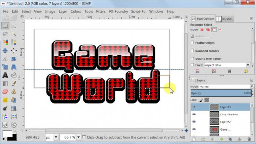 Fig. 14  Making a glossy text with star pattern inside in GIMP 2.8