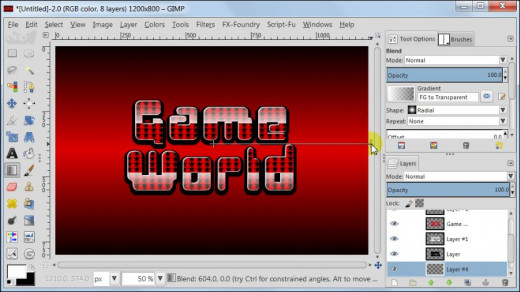 Fig. 18  Making a glossy text with star pattern inside in GIMP 2.8