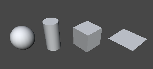 Unity Primitives (Missing Capsule) From left to right: Sphere, Cylinder, Cube & Plane