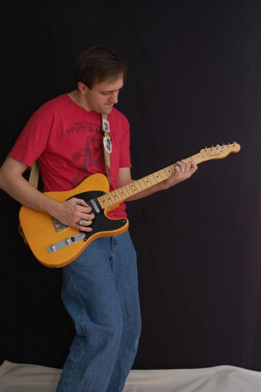 Son-in-law Steve with his vintage Tele.  He plays everything from Elvis to Springsteen in fine style.