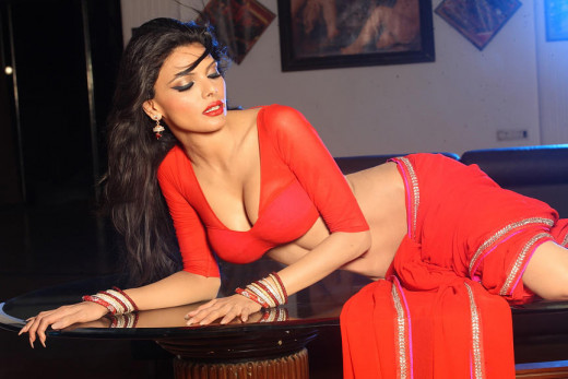 Sherlyn Chopra in red Saree