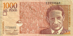 Jorge Eliecer Gaitan in a $1,000 Colombian pesos bill (roughly 60 cents) with his populist support on the background.
