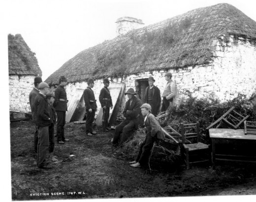 Public Domain Image. Family being evicted in County Clare, 1879.