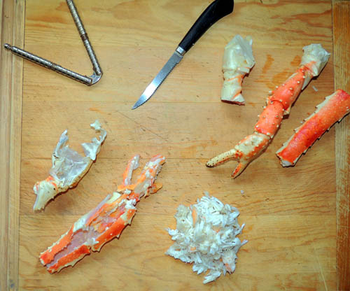 left to right, top to bottom, crab prep