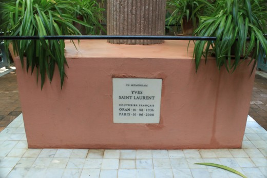 The memorial to French fashion designer Yves Saint Laurent, former owner of the Jardin Majorelle where his ashes were spread upon his death in 2008