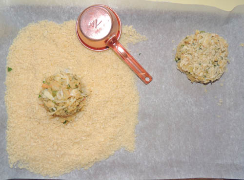 place on clean strip of parchment paper, and repeat this process until all cakes are crafted