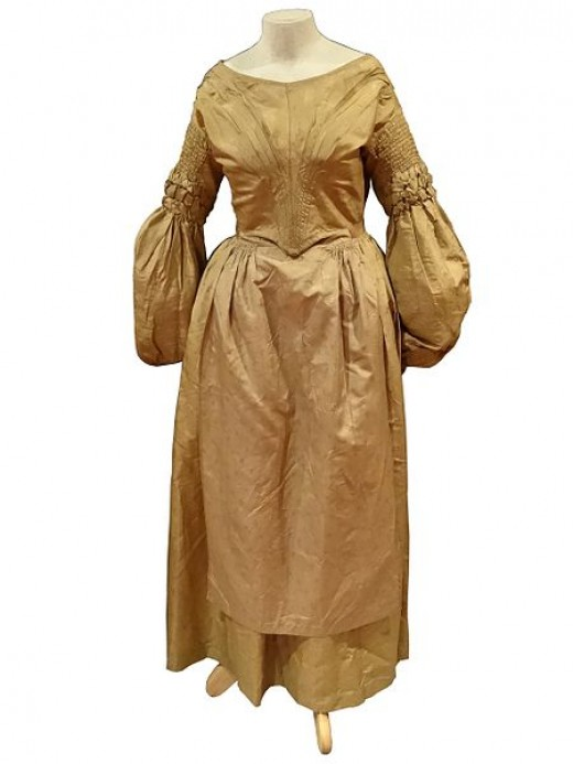 1842 US Irish wedding dress. If someone had this and wanted to wear it, they certainly could.