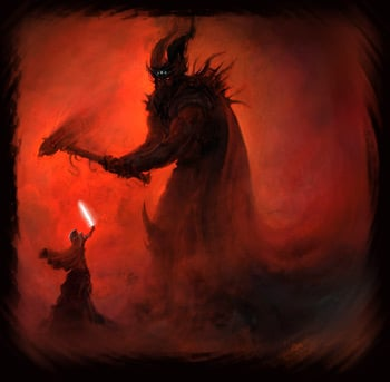 Melkor (AKA Morgoth) battling Fingolfin, High King of the Noldor (the elves).