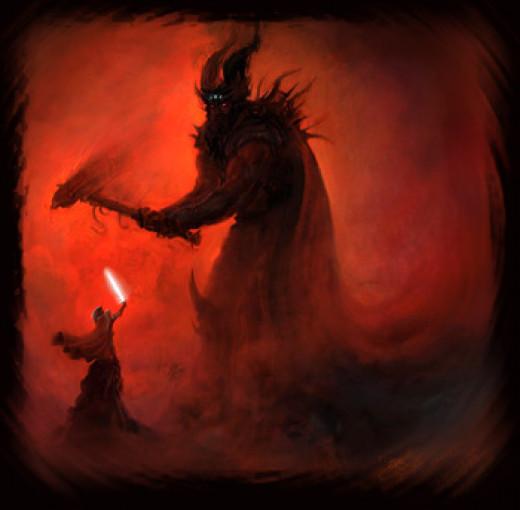 Melkor (AKA Morgoth) battling Fingolfin, High King of the Noldor (the elves).
