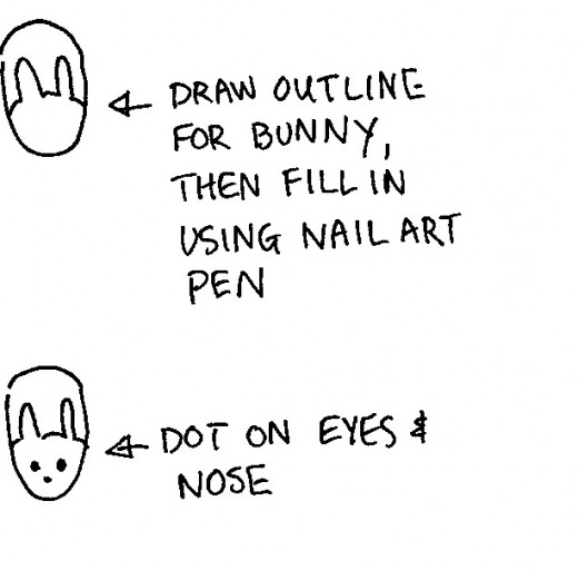 Use a nail art pen to draw the outline of the bunny, then fill in the outline using the pen.