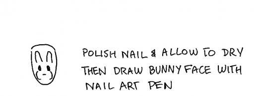 It's very easy to use a black or white nail art pen to draw bunny faces onto your polished nails.