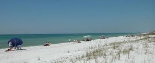 Rocky Branch State Park in Alabama has a beautiful man made sandy beach. The swimming area is zoned off by a very long, yellow buoy.