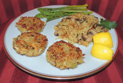 Serve with rice pilaf and a green veggie, and you're golden. To learn how to make a fabulous dipping sauce, refer to my Crab Cakes Dipping Sauce recipe!