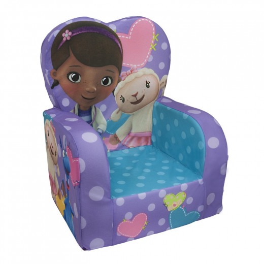 Bright colored Disney Doc mcStuffins comfy chair featuring Lambie and Stuffy.