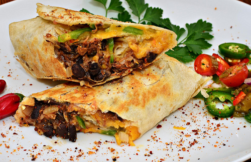 Chicken and black bean burritos are a nice treat for PMS.