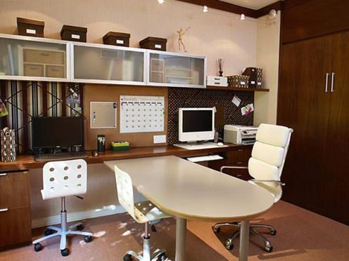Inexpensive fixtures offer office efficiency.