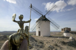 Don Quijote and windmill in Spain