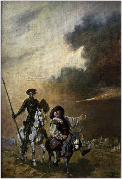 Don Quijote and Sancho Panza in La Mancha, Spain