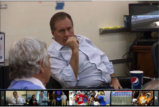 Bill Belichick and Bob Kraft discuss strategy in the New England war rooom on draft day.
