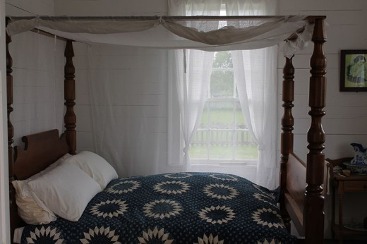 Vintage bed with fly netting