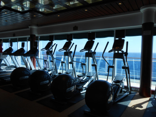 The treadmills I walked on in the ship's gym. I had a beautiful view of the water as I walked!