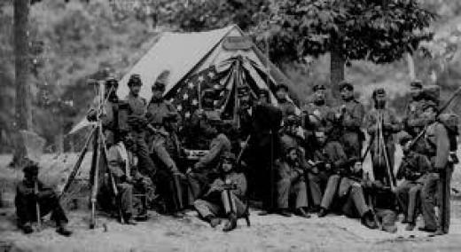 Civil war soldiers in camp