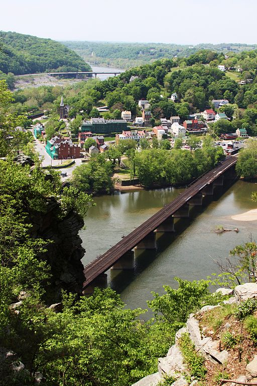 A view of Harpers Ferry from the cliffs on the Maryland side of the Potomac River.