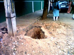 A PIT DUG UP BY TELEPHONE DEPT SEVERAL DAYS AGO IS OPEN INVITATION FOR A FULL DISASTER FOR SOME UNLUCKY PERSON IN 13 TH CROSS MALLESWARAM NEAR SRI GANAPATHI TEMPLE.