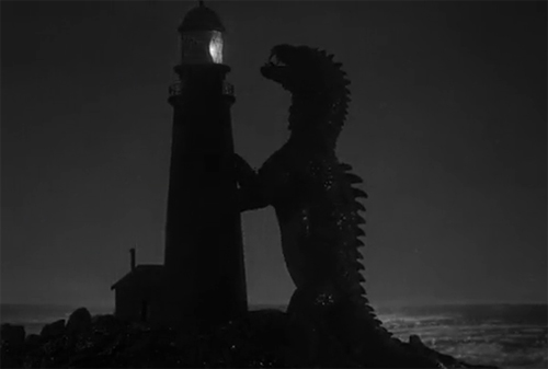The Rhedosaurus attacks a lighthouse.
