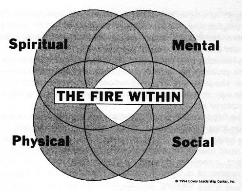 "The diagram of the overlapping circles from ""First Things First"" by Covey et al"