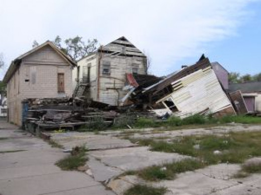 Homes destroyed by a hurricane