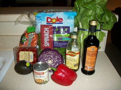 Shown here are the ingredients for A Healthy Salad -- Live Green Salad. If you are so inclined you can also add a few bits of cooked chicken and some parmesan cheese.