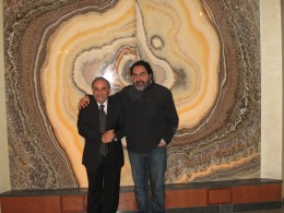Cosmo Guglielmi and marble mural he created and the man for whom he created it