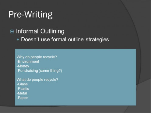 Example of informal outlining using the topic of recycling