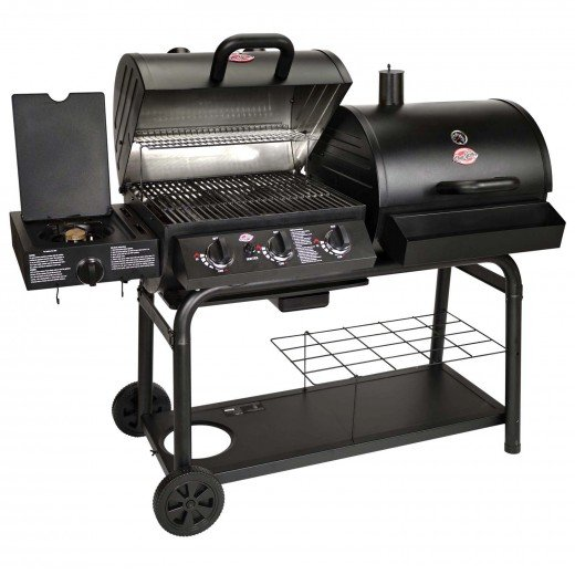A griller with wheels and large grilling surface, suitable for an open garden with sufficient space.