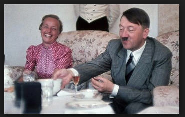 Hitler and Eva dining. Hitler was not always in military gear.