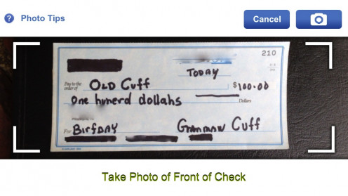 A birthday check from Grammaw Cuff on my smart phone's mobile deposit app