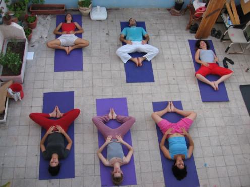 A hatha yoga class