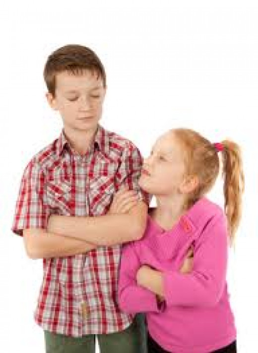 Oftentimes siblings resort to upmanship and  other psychological and mental forms of manipulation in order to gain parental attention and favor.